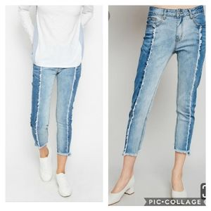 Two tone high rise frayed Jeans